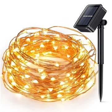 solkraft kobber tråd streng lys